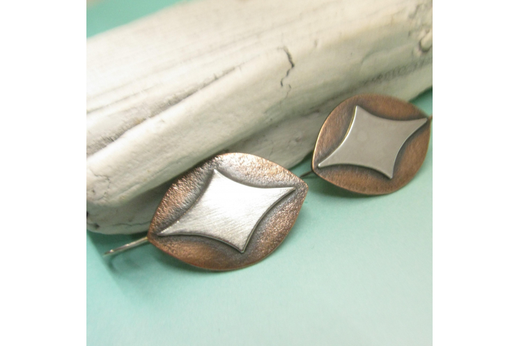 Sterling Silver And Copper Shield Earrings image 4