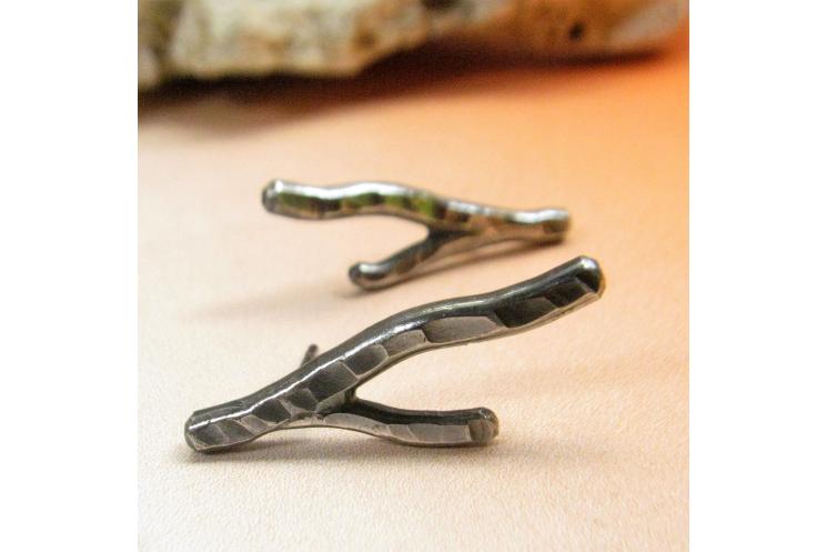 Argentium coral twig earrings Image 3