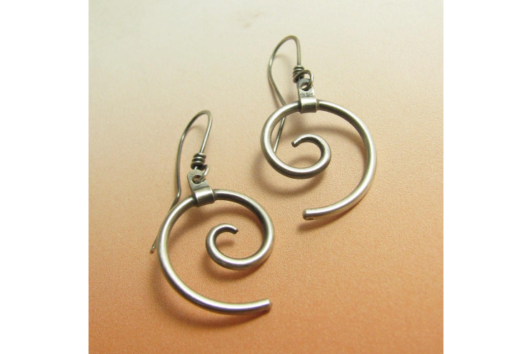 sterling silver contemorary spiral earrings photo 3