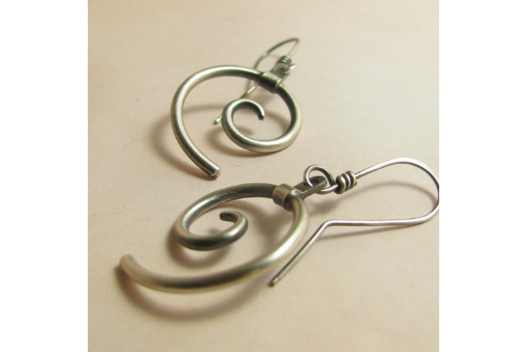 silver spirals contemporary earrings photo 2