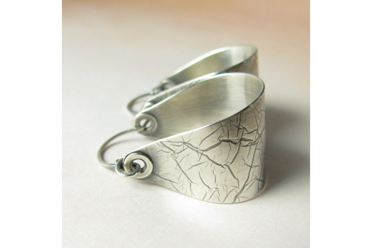 Contemporary Large Argentium Sterling Silver Saddle Hoop Earrings - Image 1