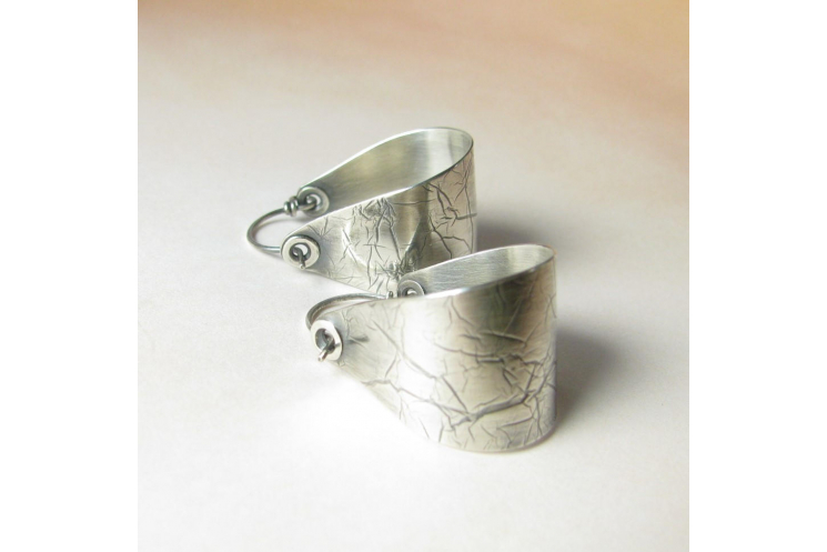 Contemporary Large Argentium Sterling Silver Saddle Hoop Earrings - Image 3