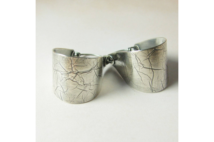 Contemporary Large Argentium Sterling Silver Saddle Hoop Earrings - Image 4