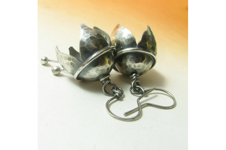Hammered Argentium Sterling Silver Musical Bell Flower Earrings - Image 2