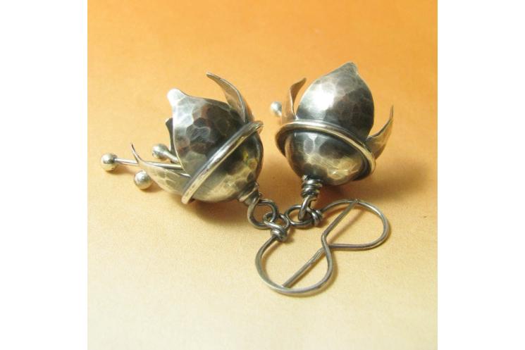 Hammered Argentium Sterling Silver Musical Bell Flower Earrings - Image  1