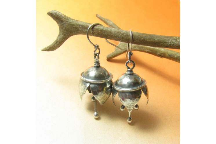 Hammered Argentium Sterling Silver Musical Bell Flower Earrings - Image 3
