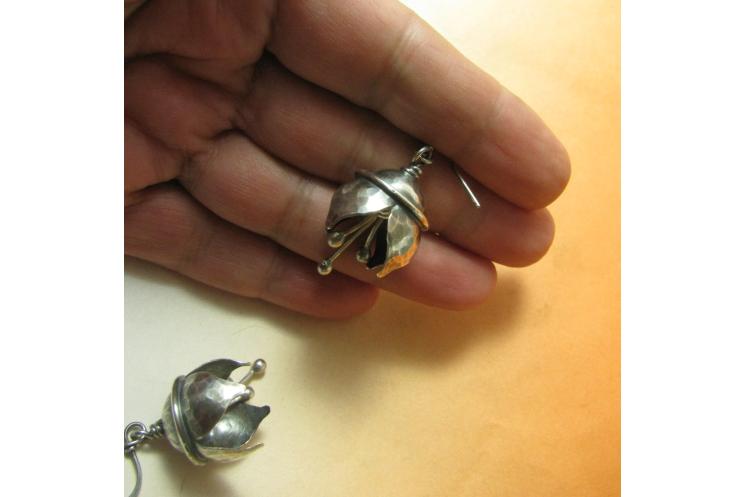 Hammered Argentium Sterling Silver Musical Bell Flower Earrings - Image 5