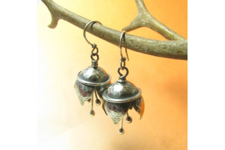 Hammered Argentium Sterling Silver Musical Bell Flower Earrings - Image 4