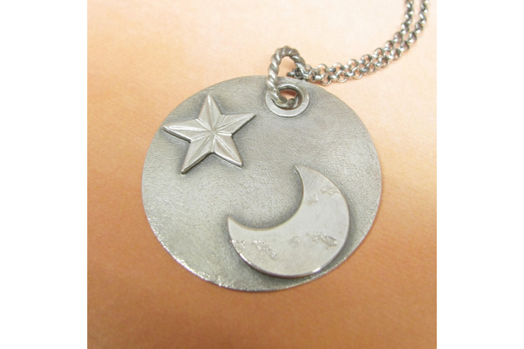 argentium sterling silver moon and star pendant necklace image 3