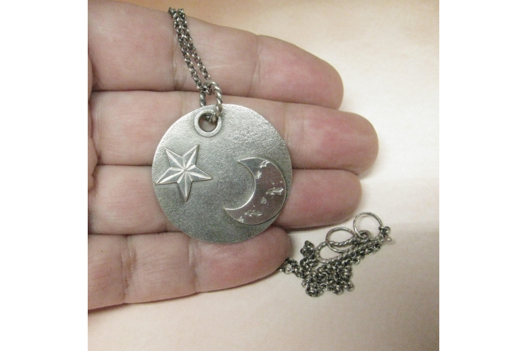argentium sterling silver moon and star pendant necklace image 2