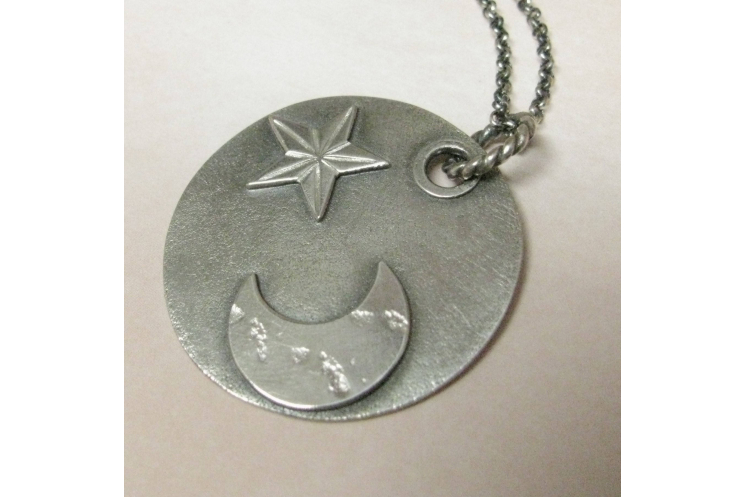 argentium sterling silver moon and star pendant necklace image 1