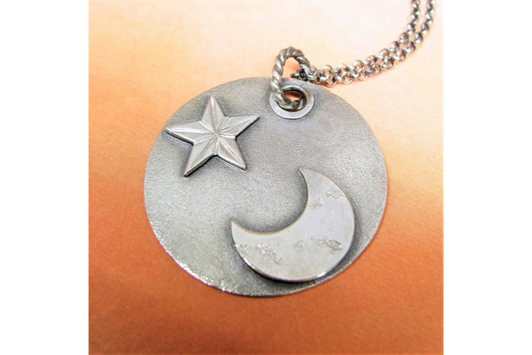 argentium sterling silver moon and star pendant necklace image 5