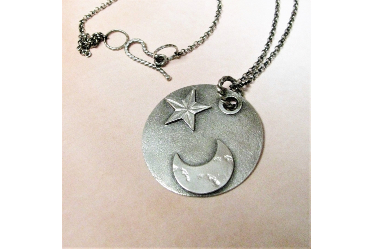 argentium sterling silver moon and star pendant necklace image 4