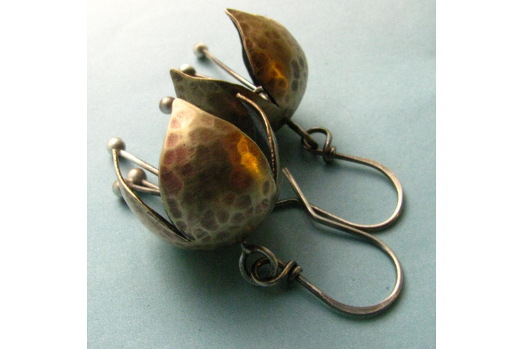 Mixed Metal, Nugold And Sterling Silver Tinkling Bell Flower Earrings - Image 3