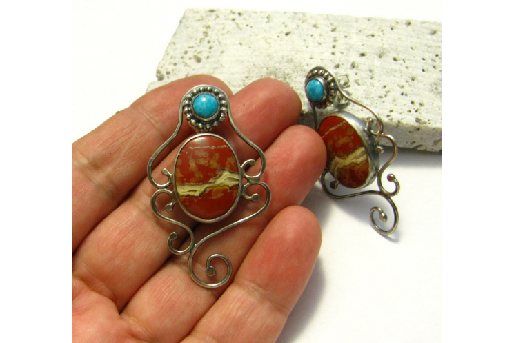 Red Jasper And Turquoise Earrings - Image 5
