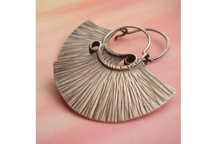 sterling silver tribal fan earrings - image 1