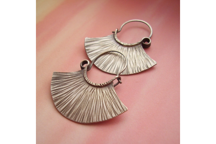sterling silver tribal fan earrings - image 2