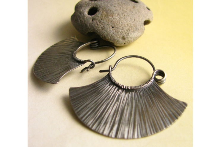 sterling silver tribal fan earrings - image 4