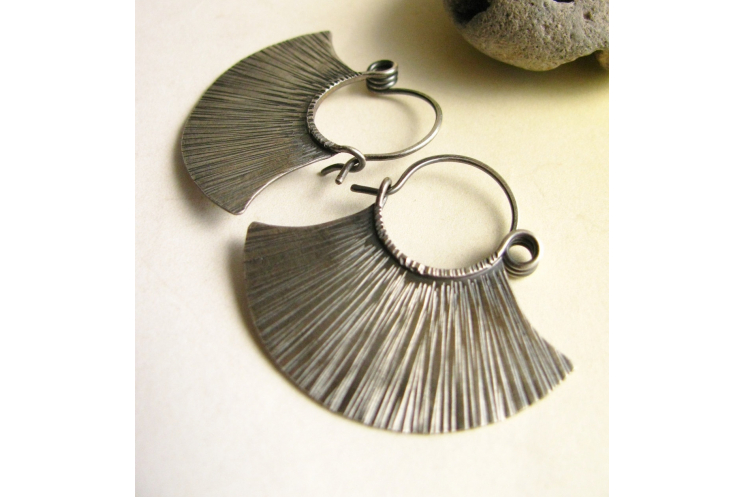 sterling silver tribal fan earrings - image 3