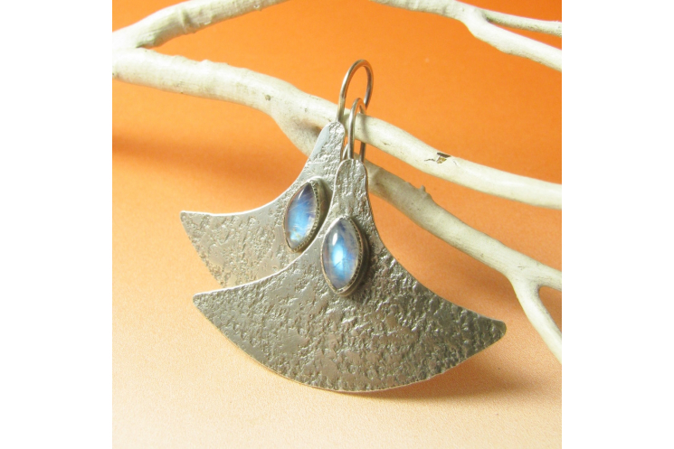 Modern Argentium Sterling Silver And Rainbow Moonstone Earrings Image 1