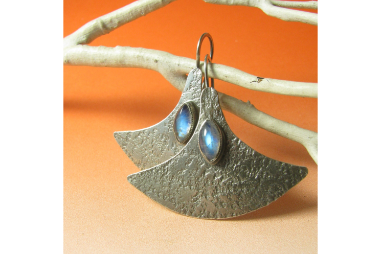 Modern Argentium Sterling Silver And Rainbow Moonstone Earrings Image 4