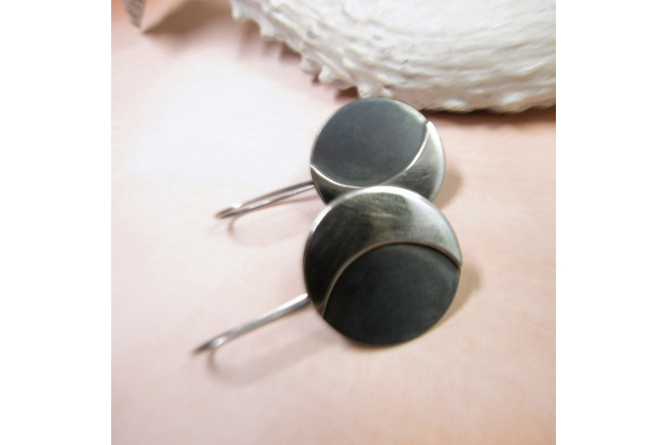 Argentium Sterling Silver Moon Earrings Image 2