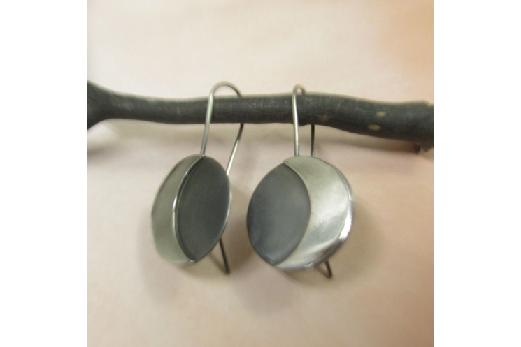 Argentium Sterling Silver Moon Earrings Image 4