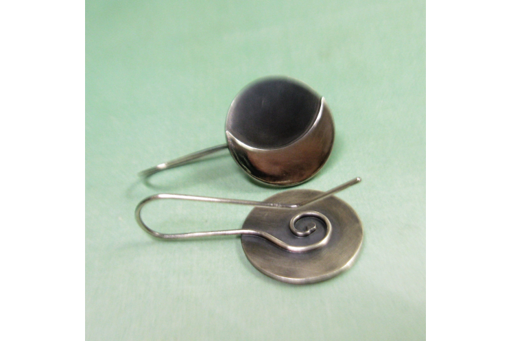 Argentium Sterling Silver Moon Earrings Image 5