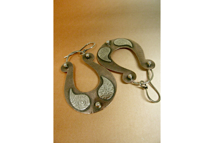 Large Boho Two Tone Mixed Metal Copper And Sterling Silver Paisley Earrings - 3