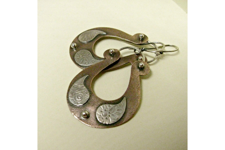 Large Boho Two Tone Mixed Metal Copper And Sterling Silver Paisley Earrings - 4