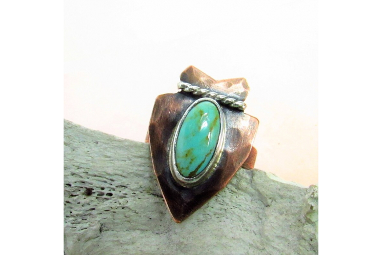 Size 8 Turquoise Arrowhead Ring In Copper, Fine and Sterling Silver