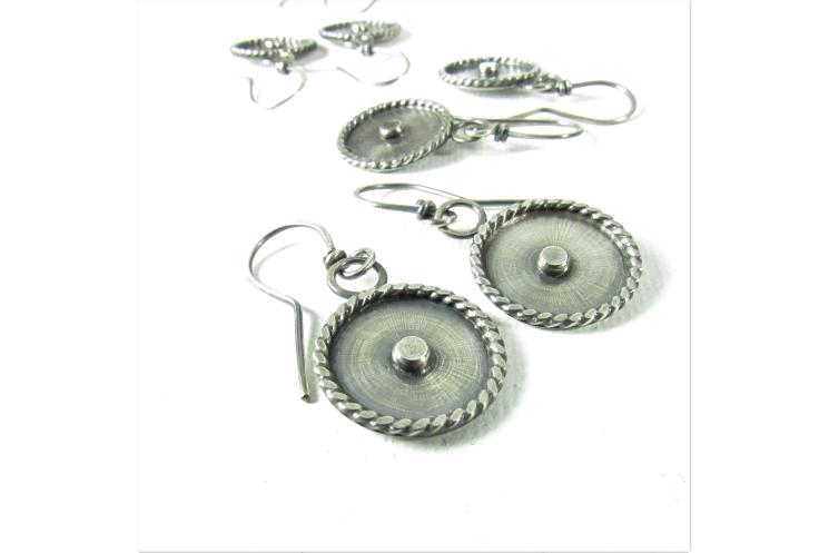 Unique Sterling Silver Disc Earrings