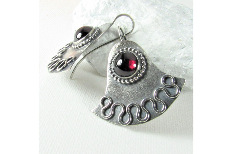 Argentium Sterling Silver Egyptian Lotus Earrings With Large Deep Red Garnets