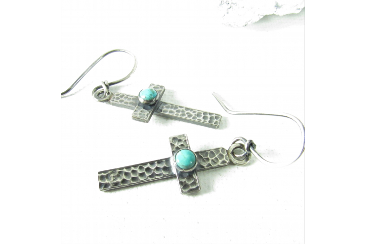 Sterling Silver  And Sleeping Beauty Turquoise Cross Earrings