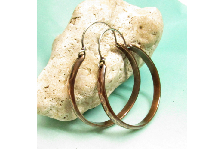 Mixed Metal Copper And Sterling Silver Hoop Earrings Image 3
