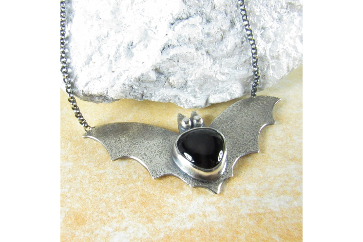 Argentium Sterling Silver Bat Pendant Necklace With Black Onyx