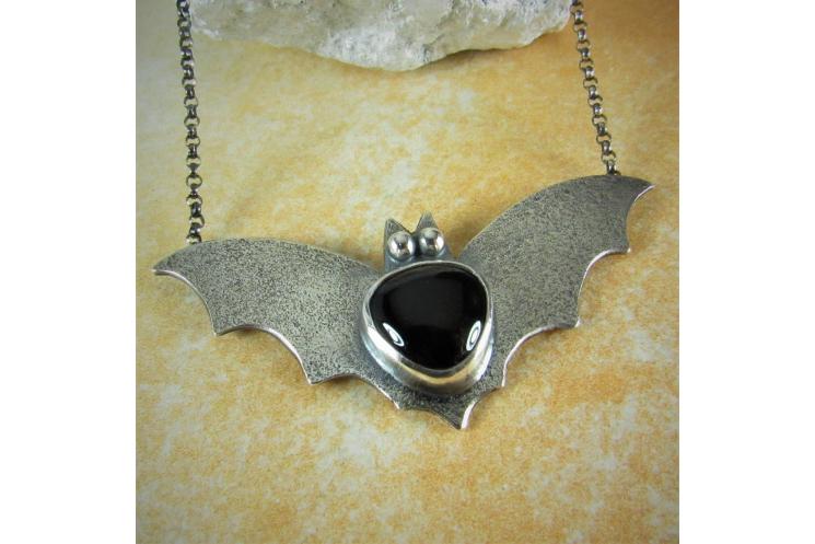 Argentium Sterling Silver Bat Pendant Necklace With Black Onyx