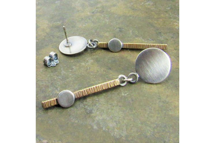 Bar And Circle Modern Mixed Metal Dangle Earrings In Bronze And Silver