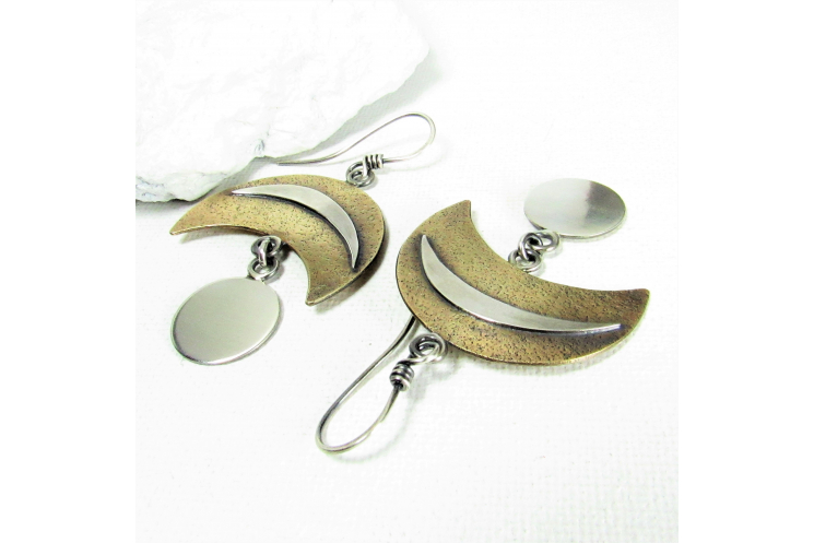 Bold Two Tone Crescent And Disk Earrings In Bronze And Sterling Silver