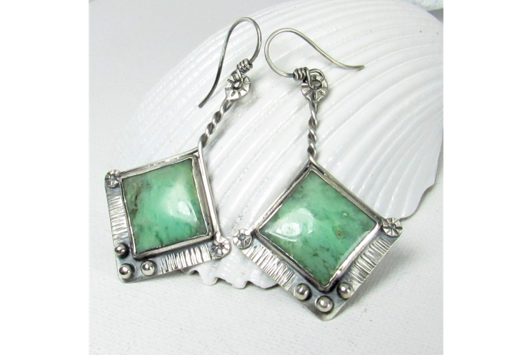 One Of A Kind Sterling Silver And Chrysoprase Earrings