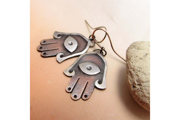 Mixed metal copper and silver Hamsa Earrings - image 4