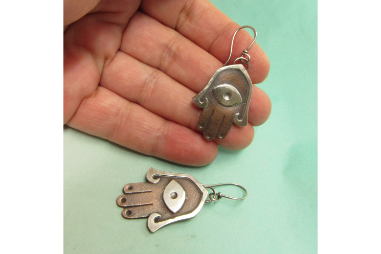 Mixed metal copper and silver Hamsa Earrings - image 3