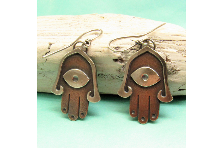 Mixed metal copper and silver Hamsa Earrings - image 2