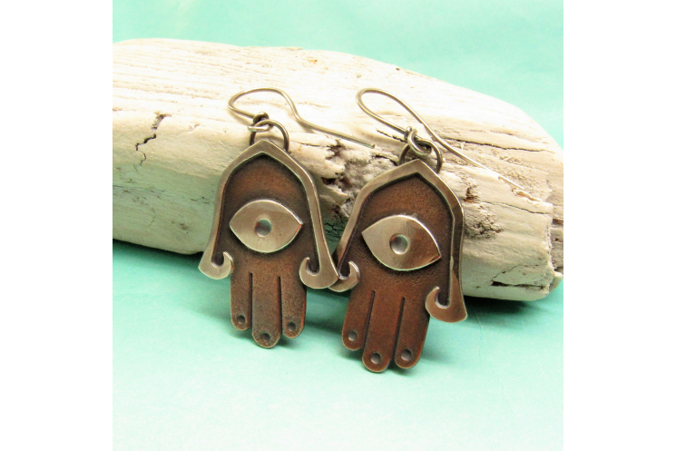 Mixed metal copper and silver Hamsa Earrings - image 5