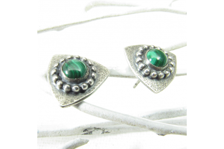 Triangular Sterling Silver And Malachite Post Back Stud Earrings