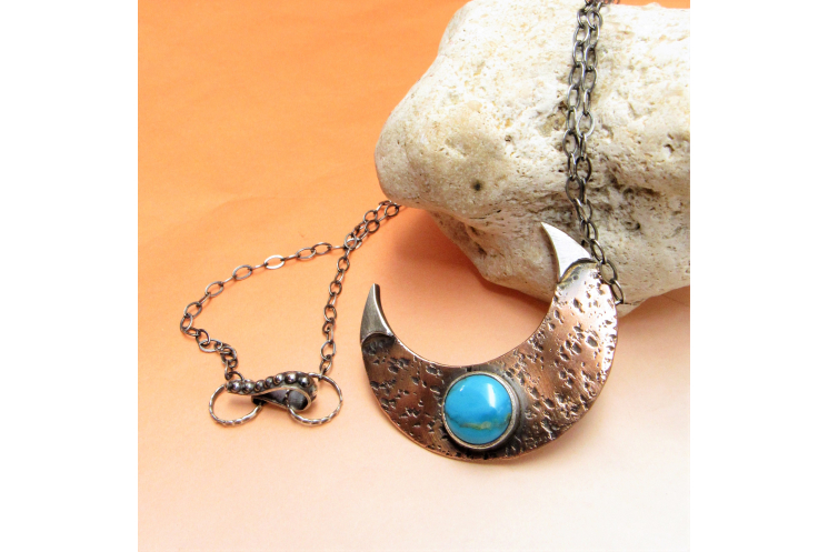 Handcrafted copper, sterling silver and turquoise crescent moon necklace Photo 2