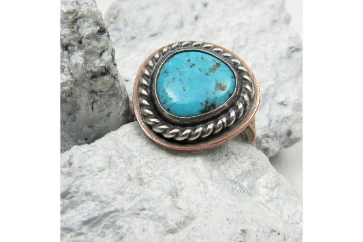 Sterling Silver And Copper Turquoise Ring Unisex Size 9