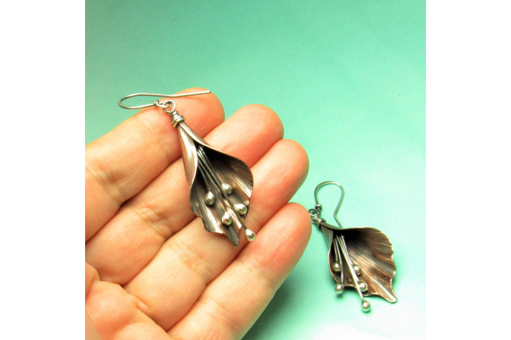 Copper And Sterling Silver Mixed Metal Lily Flower Earrings - Image 5