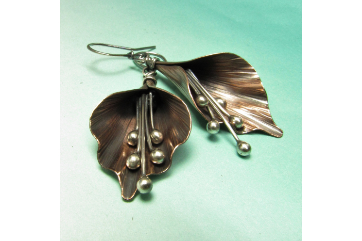 Copper And Sterling Silver Mixed Metal Lily Flower Earrings - Image 2