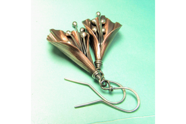 Copper And Sterling Silver Mixed Metal Lily Flower Earrings - Image 1